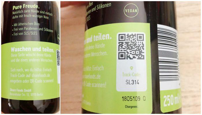 Die Share Handseife - Über den QR Code kann man sehen wo man hilft.